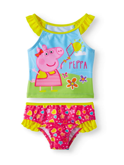 Peppa Pig Girls' Ruffle Two Piece Tankini Yellow Pink Blue - Size 4T & 5T