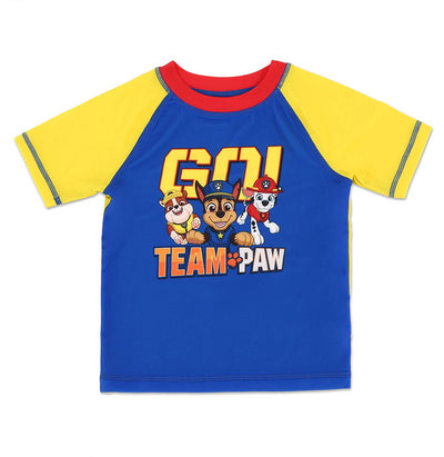 Nickelodeon PAW Patrol Toddler Boys' Rash Guard Swim Shirt Marshall, Chase, and Rubble - Blue/Yellow