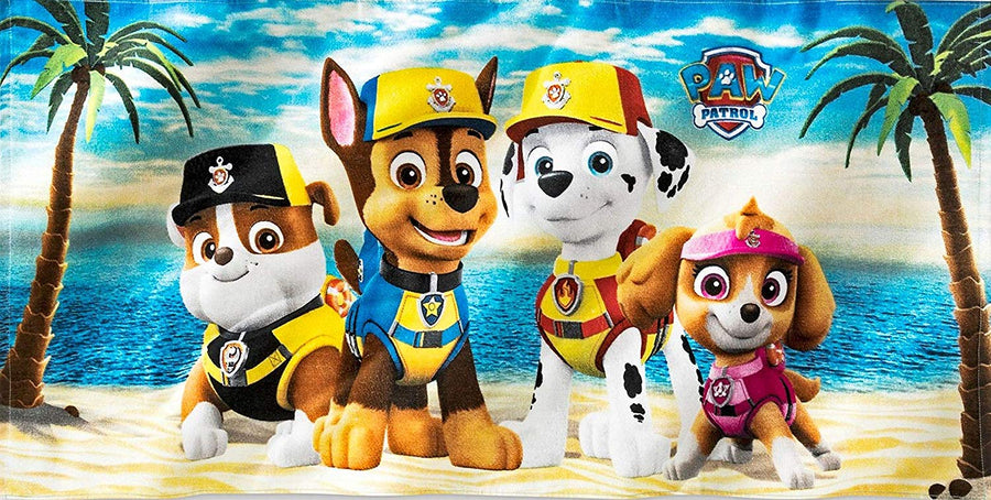 PAW Patrol Cotton Towel Chase, Marshall, Skye and Rubble For Summer Beach Pool Water Park - Blue/Yellow