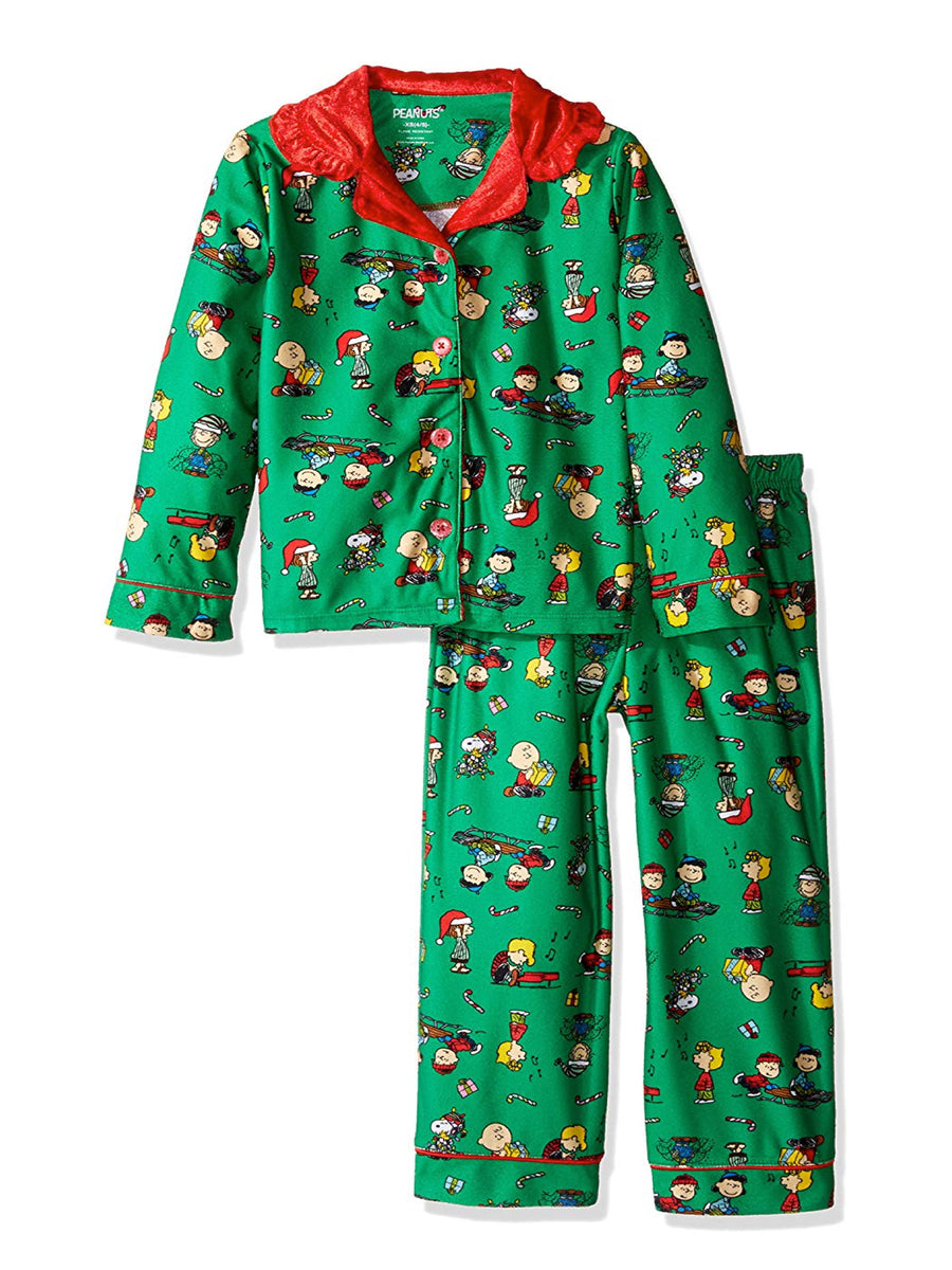 Charlie Brown Peanuts Little Big Girls' 2pc Holiday Sleepwear Set, Green, Sizes XS, S, M, L