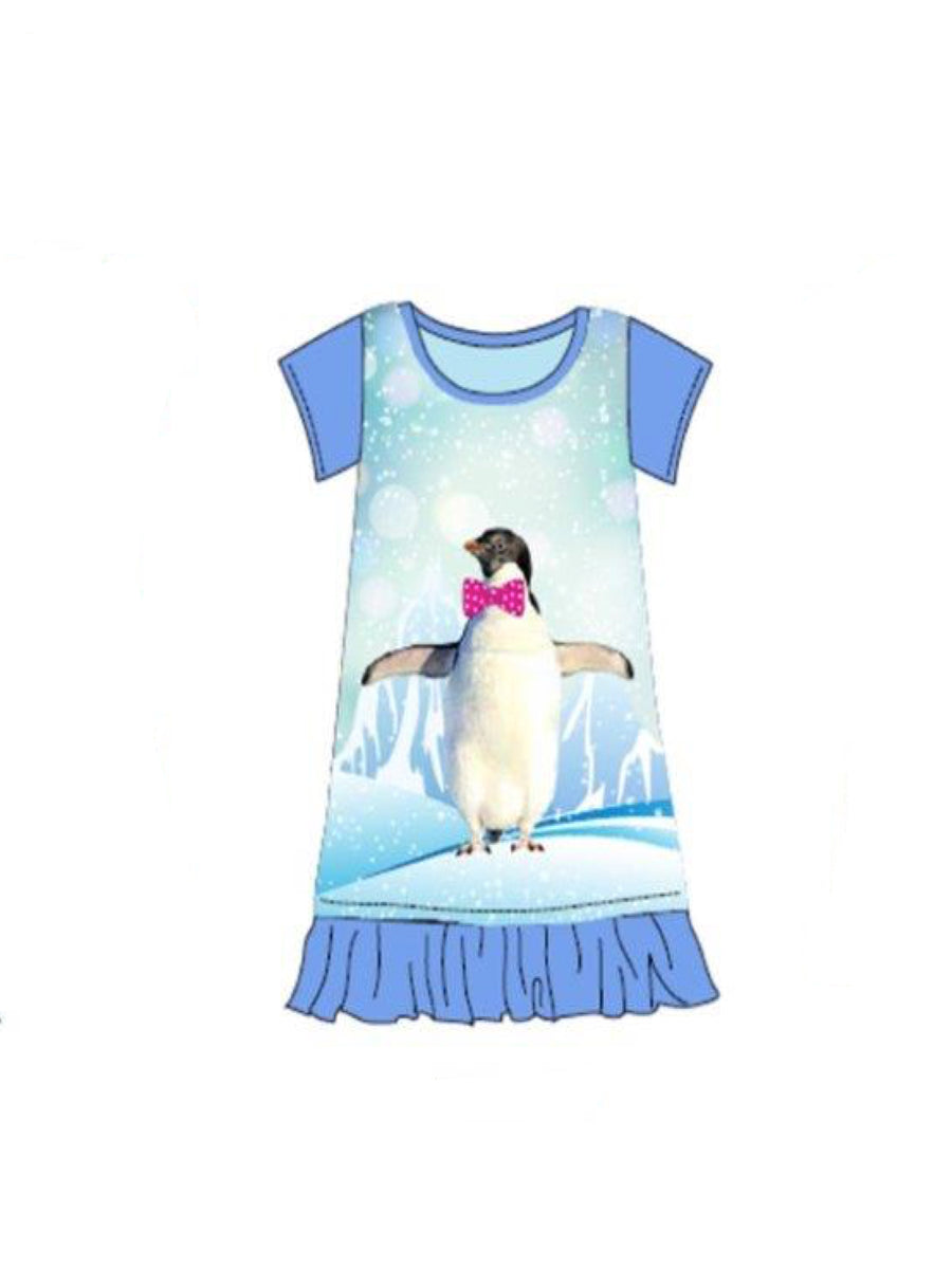 Little Big Girls Animal Character Christmas Nightgowns, Pink Polar Bear, Blue Penguin, Purple Dog, Sizes 4-16