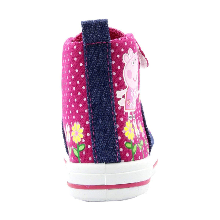 Peppa Pig Girls' Denim and Pink Toddler High Top Sneakers - Sizes 7, 8, 9, 10