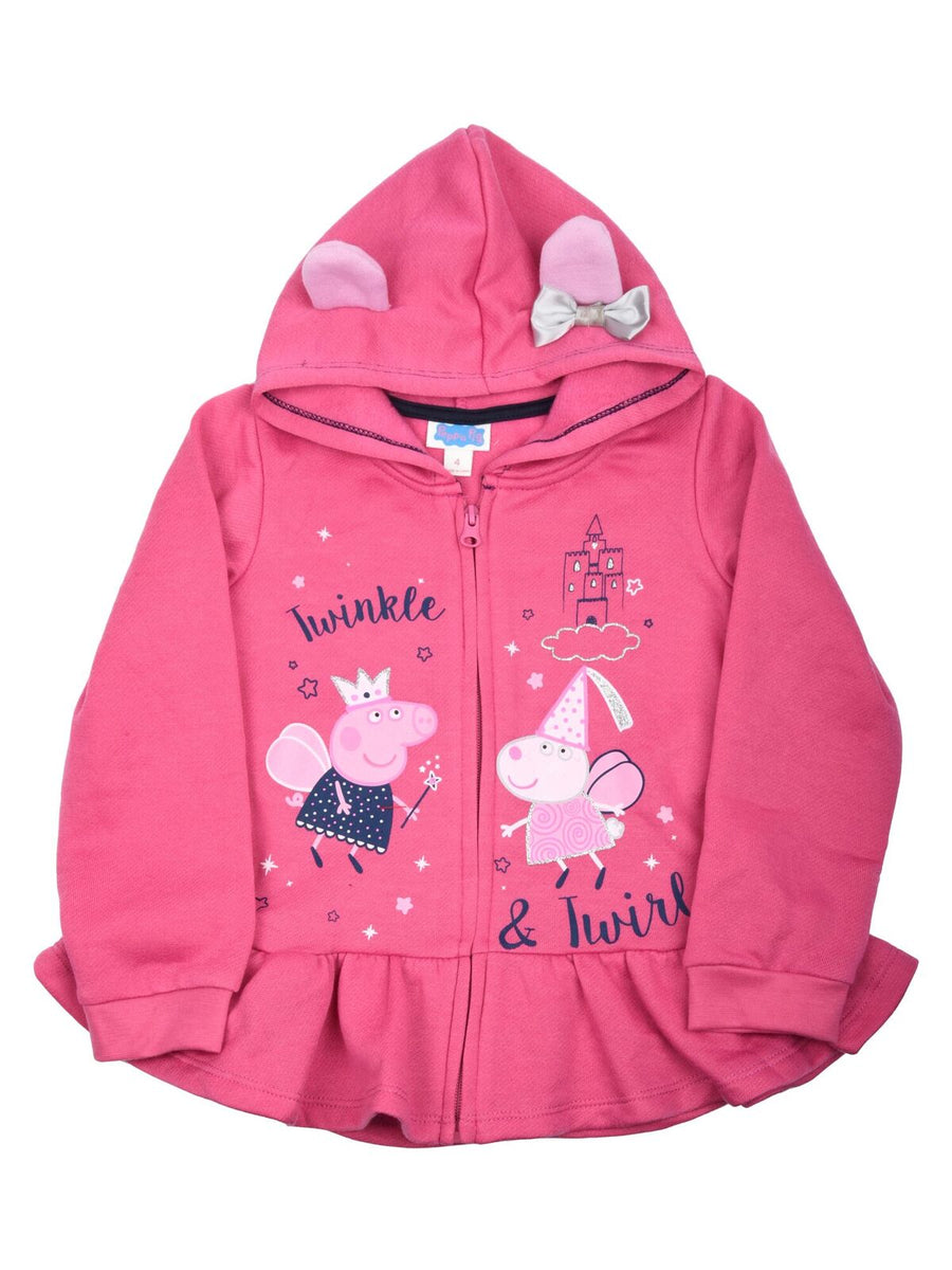 Peppa Pig Twinkle and Twirl Little Girls' 3 Piece Hoodie Shirt and Legging Set - Pink/Black/Gray