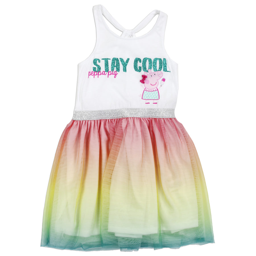 "Peppa Pig Toddler Little Girls' ""Stay Cool"" TuTu Dress - Multicolored - Sizes 2T, 3T, 4T, 5, 6 & 6X"