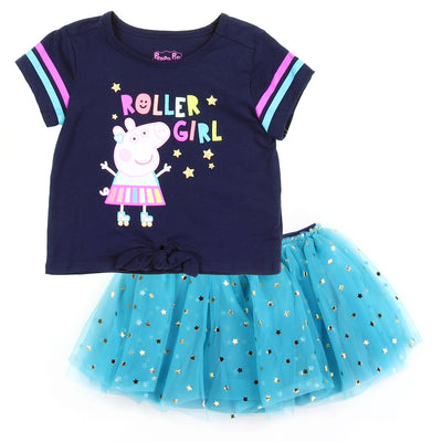 Peppa Pig Toddler Girls' 2PC Top & Tutu Skirt Set - Navy Blue/Turquoise - Sizes 2T, 3T & 4T