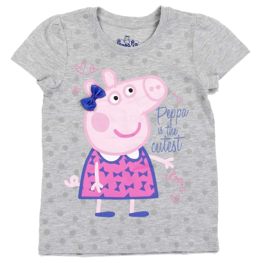 "Peppa Pig Toddler Girls' ""Peppa Is The Cutest"" Short Sleeve Tee - Grey - Sizes 2T, 3T, 4T & 5T"