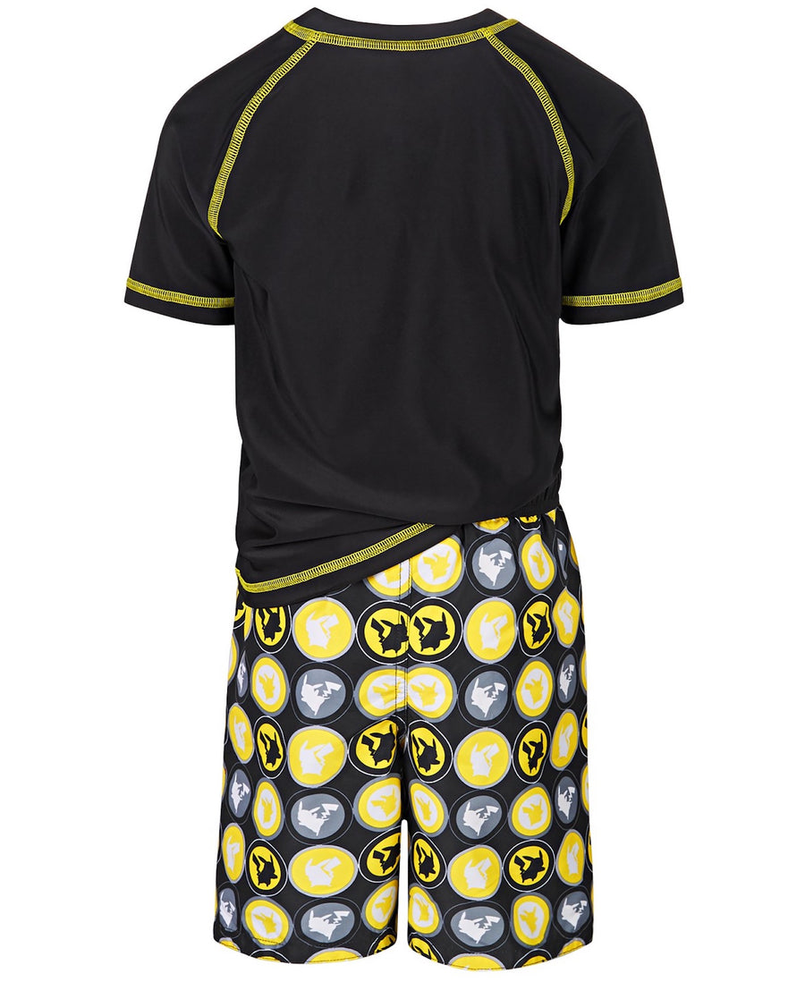 Pokemon Swim Trunk and Rash Guard Set Boys Swim Pikachu Yellow,Black - Sizes 4, 5/6 and 7