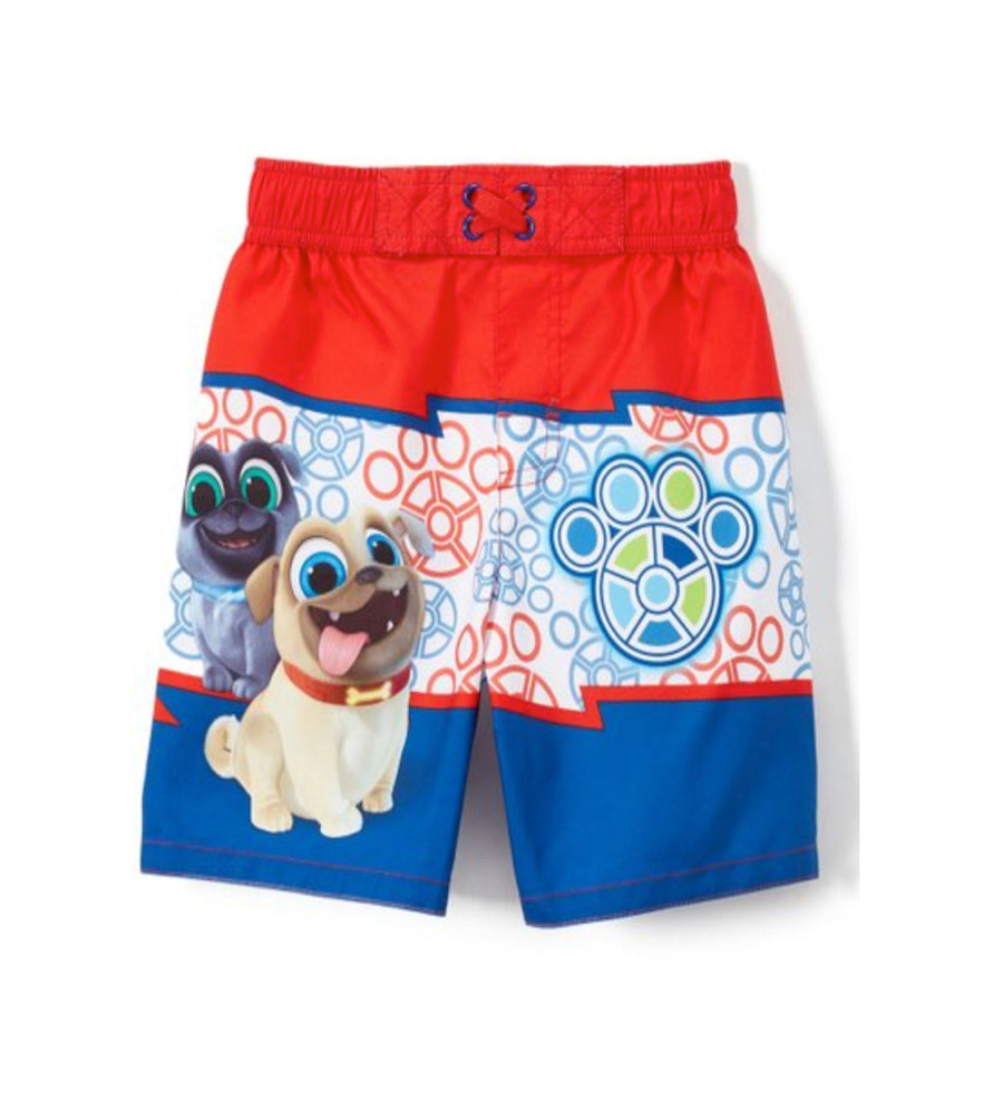 Disney Puppy Dog Pals Toddler Boys' Swim Trunks Bingo Rolly - Blue/Red/White