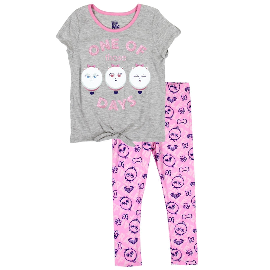 Secret Life of Pets Girls' 2PC Tie Top and Legging Set - Gray/Pink