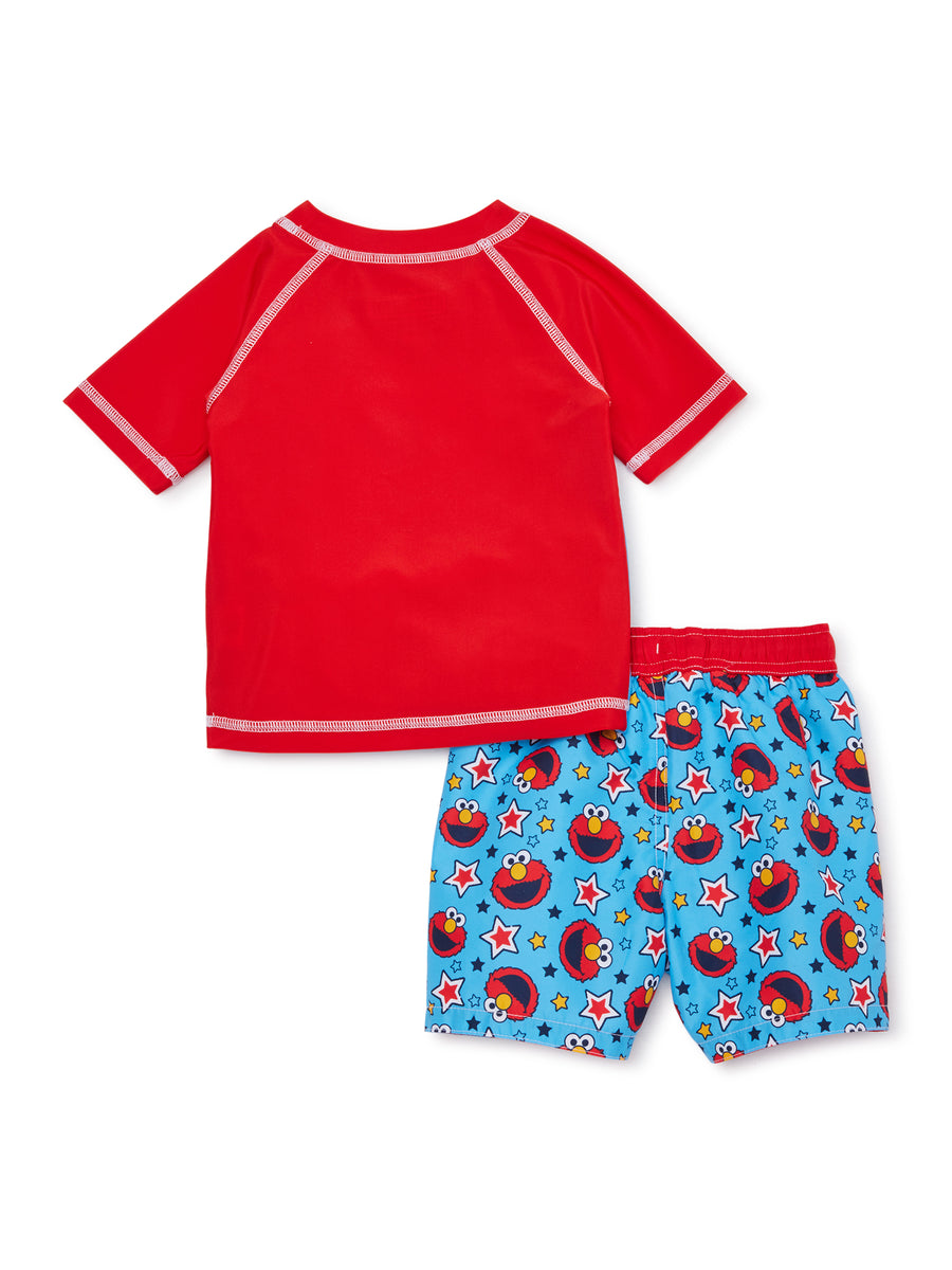 Sesame Street Elmo Baby Boy 2PC Rash Guard and Swim Trunk Set - Blue/Red - Sizes 12M, 18M and 24M