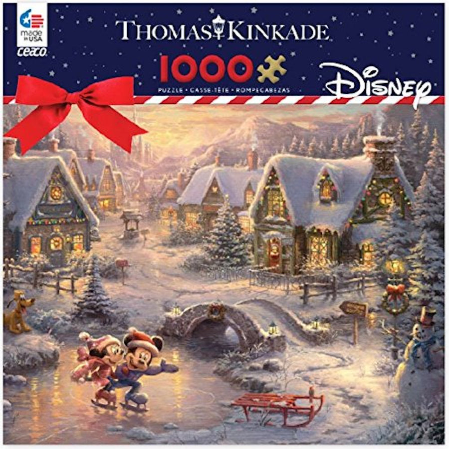 Thomas Kinkade Mickey and Minnie Sweetheart Holiday Puzzle, 1000 Pieces
