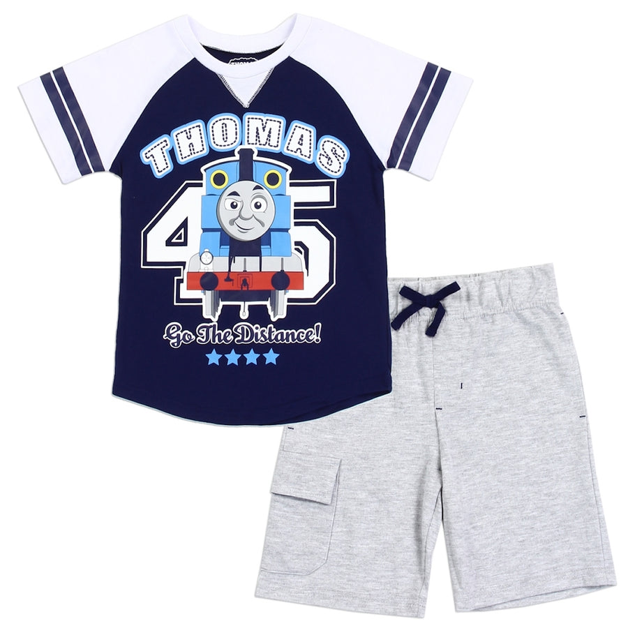 Thomas & Friends Toddler Boys' 2PC Top & Short Set - Navy Blue/Grey - Sizes 3T, 4T & 5T