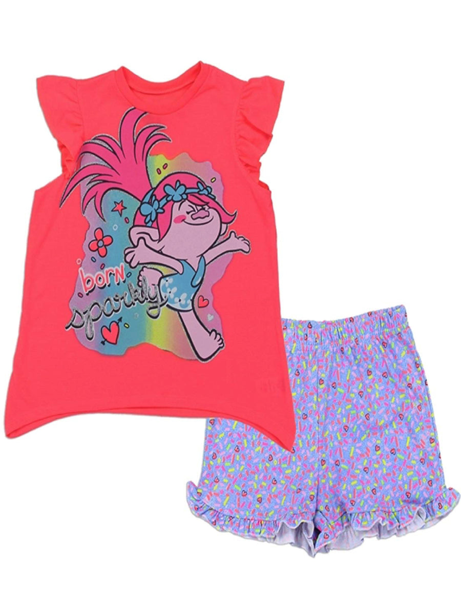 Trolls Poppy Big Little Girls' 2PC Top and Short Set Outfit, Coral