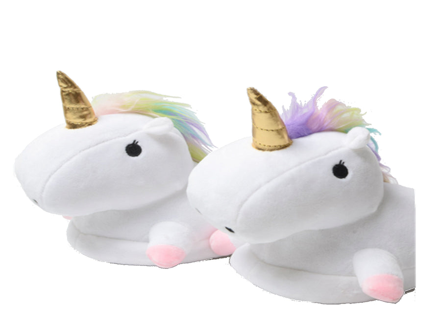 Unicorn Woman Big Girls Soft Cozy Plush Slippers, White, S 5/6, M 7/8, L 9/10