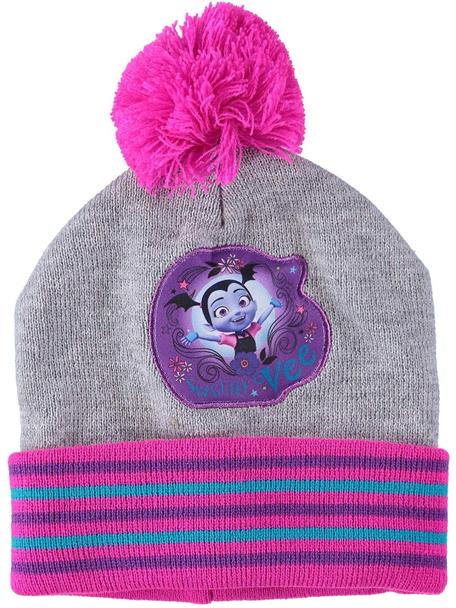 Disney Vampirina Girls' Beanie and Mittens Set - Pink/Grey, One size - Toddler