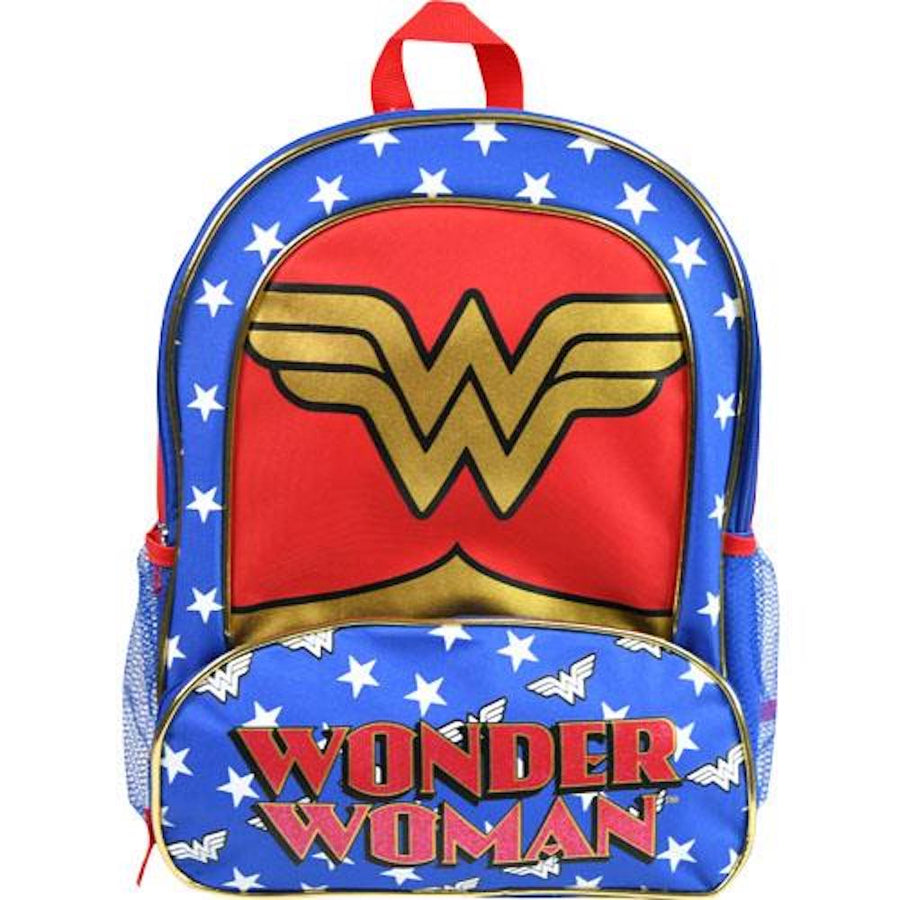"Girls' 16"" Wonder Woman Large Star Backpack with Glitter 'W' Logo School Bag - Red/White/Blue"