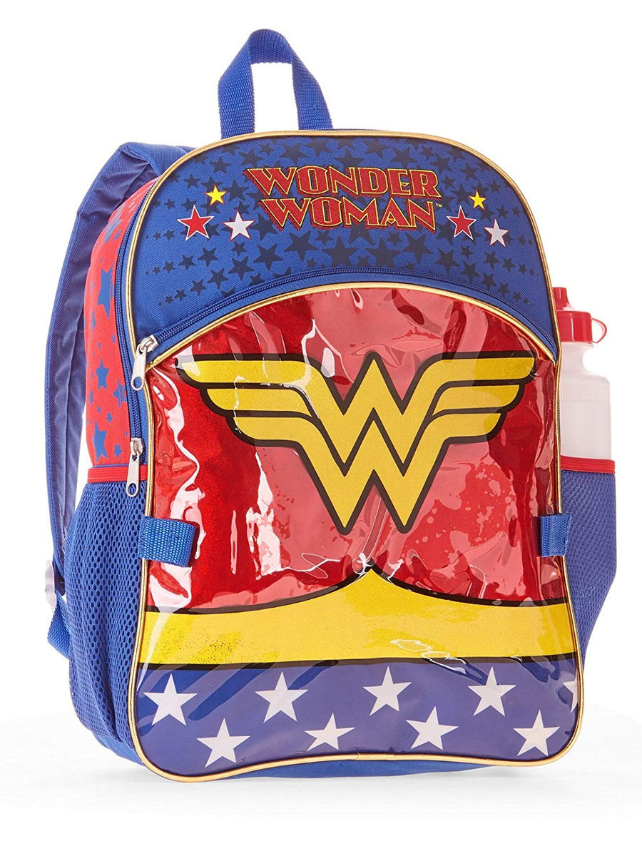 Wonder Woman 5-Piece Backpack Set, Backpack, Lunch Bag, Pencil Case, Water Bottle & Carabiner