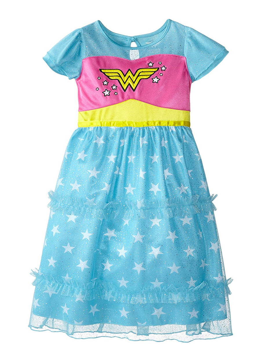 Justice League Little Big Girls' Wonder Woman Dressy Gown, Blue, Sizes XS & M