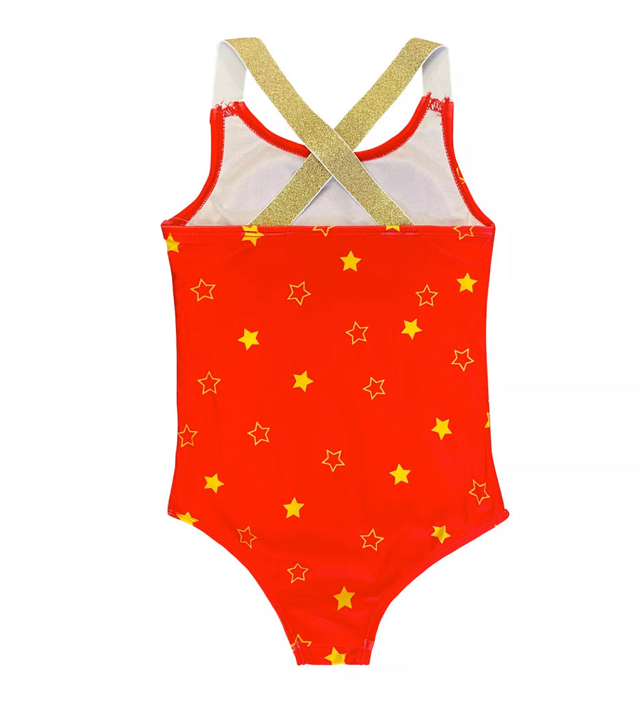 Wonder Woman Girls' Bathing Suit One Piece Swimsuit, 4-6X, Red Gold