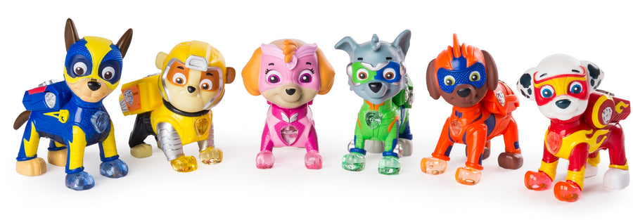 PAW Patrol Mighty Pups 6-Pack Light-Up Badges and Paws Plus Kids Coloring Paint Set Bundle