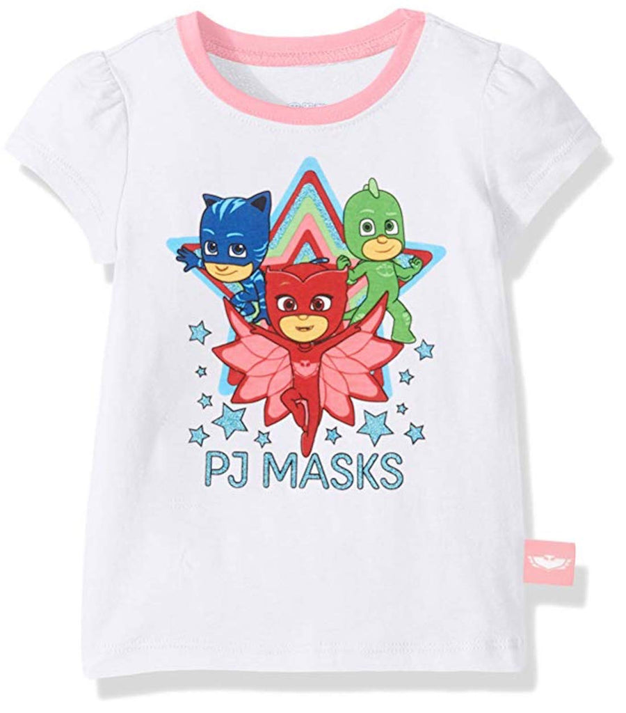 PJ Masks Toddler Girls' Owlette, Catboy & Gekko T-Shirt - Bright Pink, White, Grey or #Hero Grey- Sizes 2T, 3T, 4T & 5T