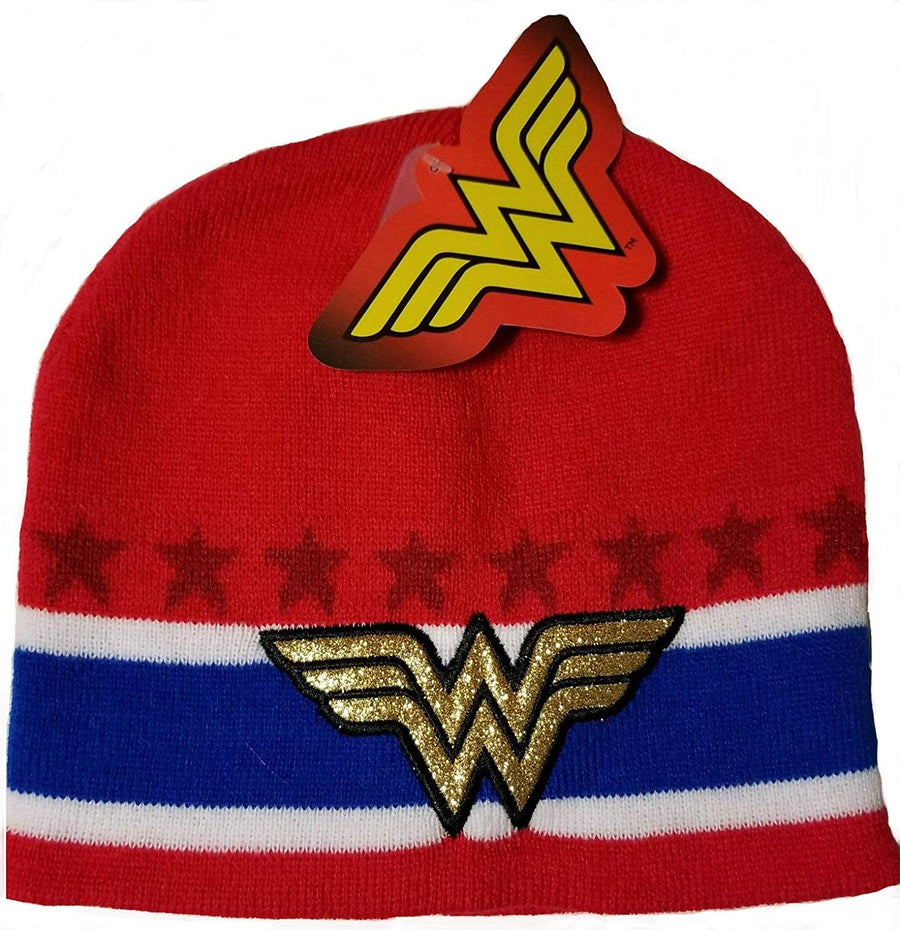 DC Wonder Woman Kids' Knit Beanie Hat, Red, One Size