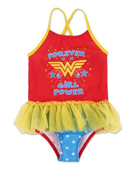 Wonder Woman Toddler Girls' One Piece TuTu Swimsuit - Red/Yellow/Blue