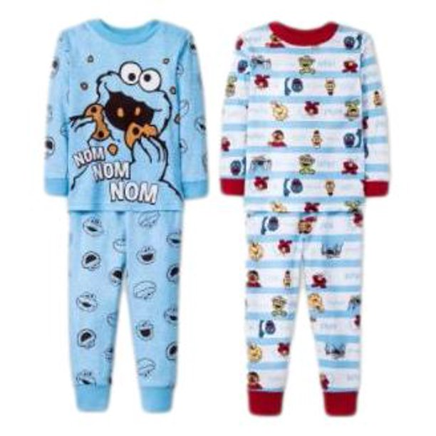 4pc Sesame Street Toddler Boys Pajama Pj Set Long Sleeve Long Pants Size 2T