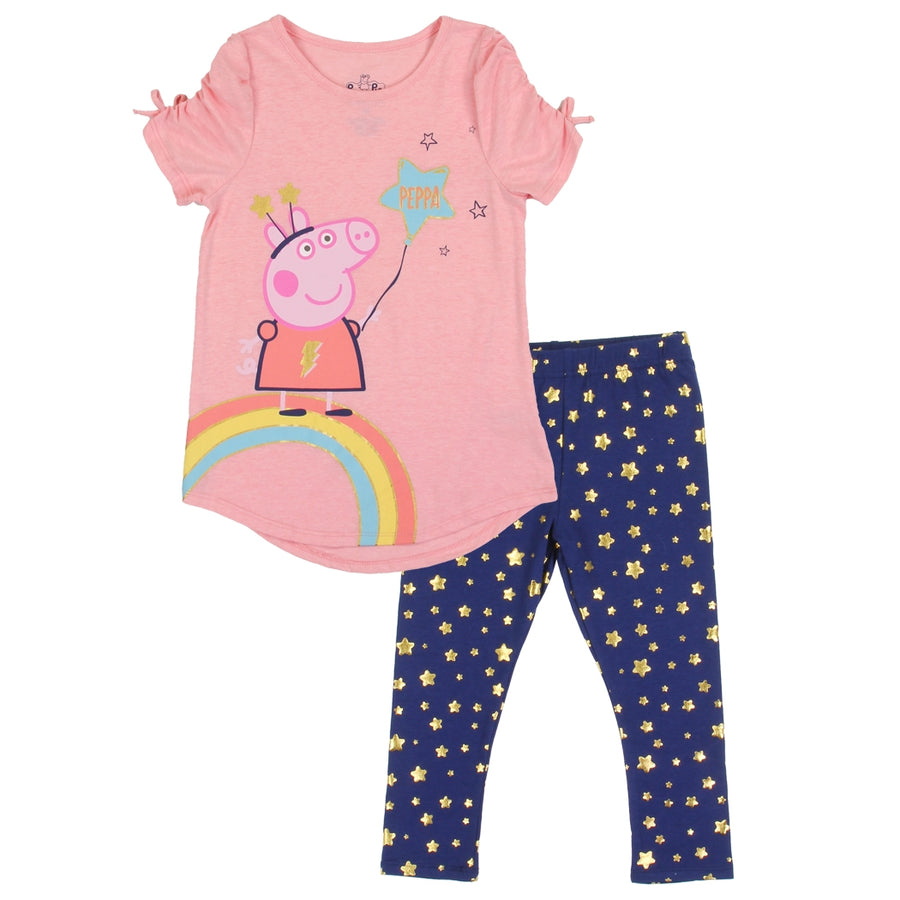 Peppa Pig Girls' 2PC Top and Capri Legging Set - Pink - Sizes 2T-4T and 4-6X