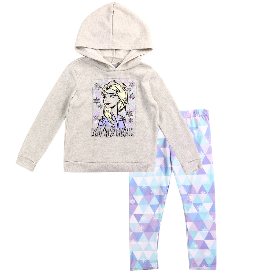 Frozen Girls' Hoodie & Legging Set 2PC Disney Fleece Outfit, Gray