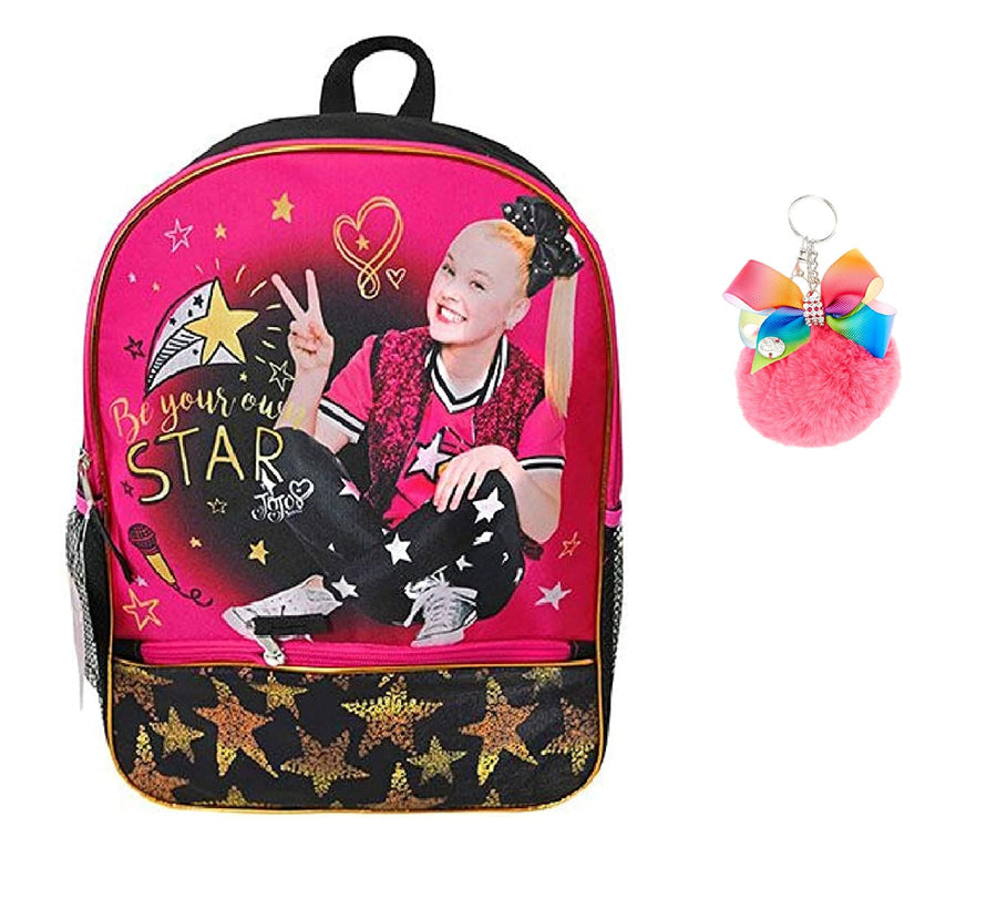 Jojo Siwa Girls 16 inch Backpack with Pom Pom keychain bundle Pink