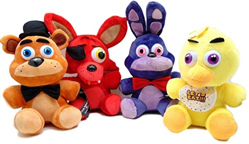 "Five Night at Freddy's Gift Set Four Plush Toys Foxy, Bonnie, Freddy Fazbear, and Chica, 14"" to 16"""