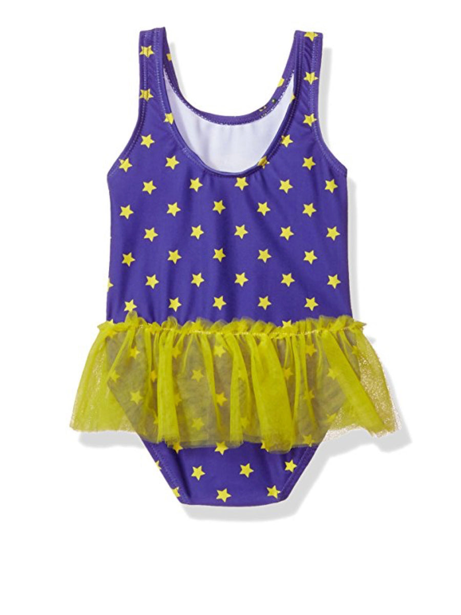 Batgirl Toddler Girls' Swimsuit One Piece Bathing Suit, Eggplant