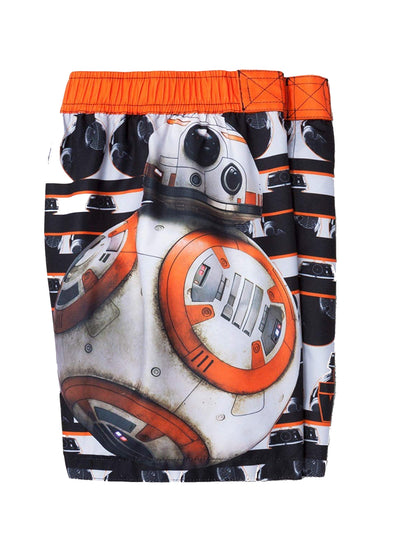 Star Wars BB-8 Boys' Swim Trunk Board Short Swimwear, Orange/Black