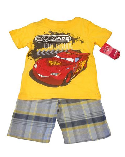 Disney Cars Lightning McQueen Toddler Boys 2-Piece Graphic Tee & Short Set, Yellow, Charcoal Grey & Blue, 2T-4T