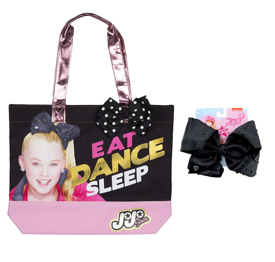 Jojo Siwa Girls Tote Bag with matching large Black Pearl Signature Hair Bow Bundle