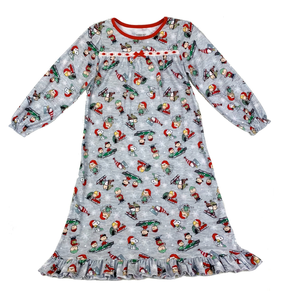 Peanuts Girls' Nightgown Pajamas Long Sleeve Gown Holiday PJs Charlie Brown Snoopy Gray