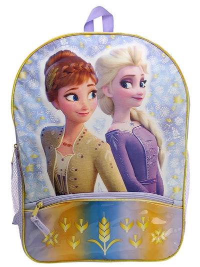 Disney Frozen 2 Anna Elsa Backpack With Lower Pocket Gold Leaves Nature