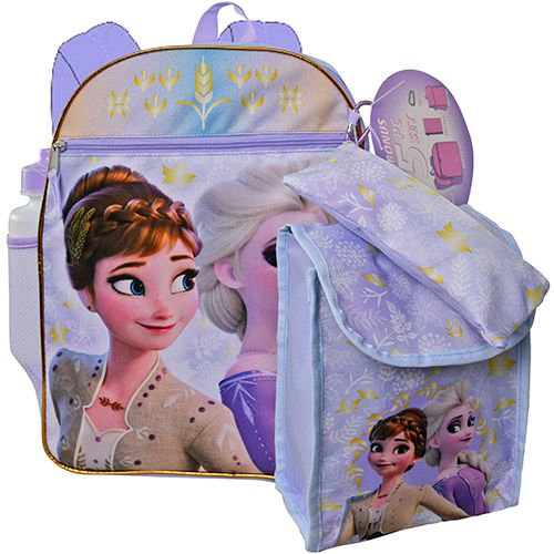 "Frozen 2 16"" Backpack 5pc Set with Lunch Kit, Bottle, Pencil Case & Carabiner"