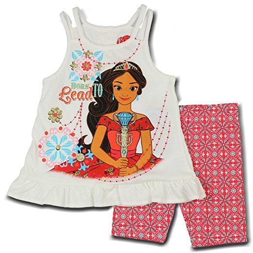 "Disney Elena Of Avalor ""Born To Lead"" White Sleeveless Top With Flower Print Shorts"