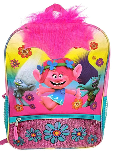 Trolls Girls Backpack 16 inch Poppy with brushable Troll Hair