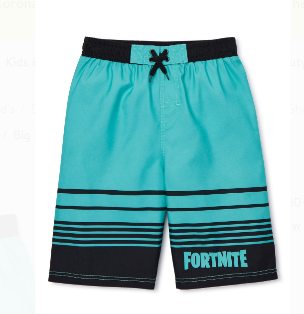Fortnite Boys' Logo Swim Trunk Board Short Swimwear Sizes 8-16