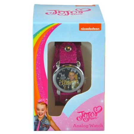 JoJo Siwa Analog Watch with Metal Face & Glitter Band in Window Box