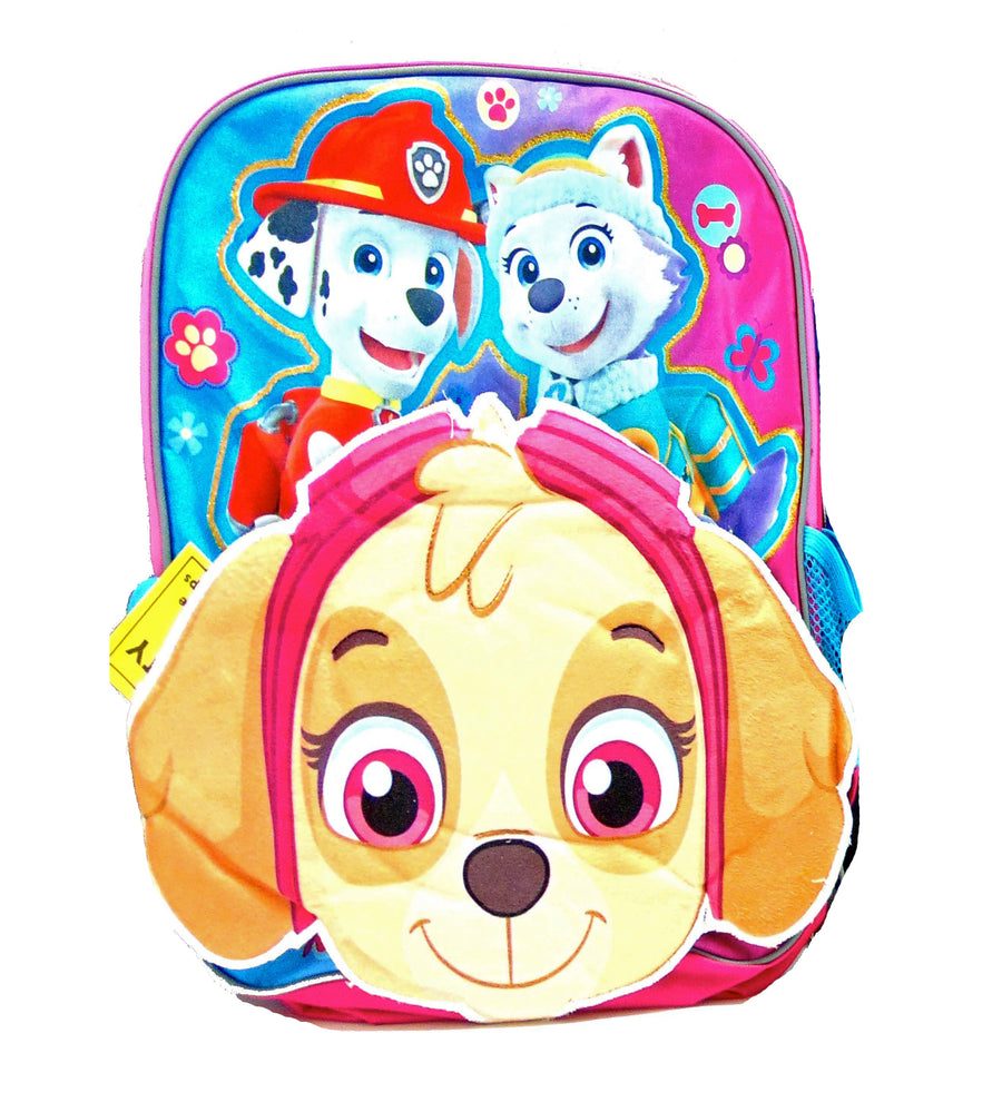 PAW Patrol Girls' 14 Inch School Backpack Skye, Everest and Marshall - Pink