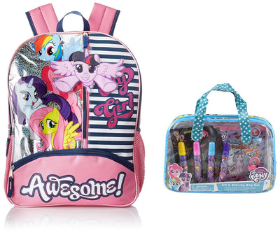 "My Little Pony ""Awesome!"" 16"" Girls' Backpack and Art Activity Bag Set - Multi Value Bundle"