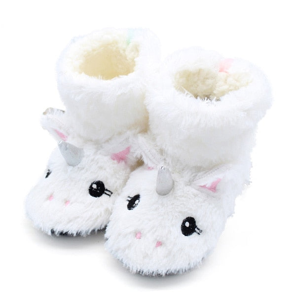 Cute Animal Print Girls Slippers Soft Winter Boot 2-7Year Old