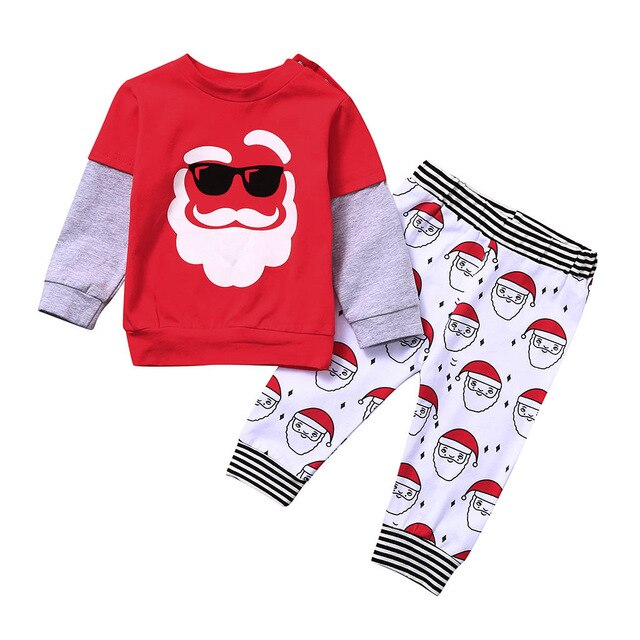 Toddler Kids Baby Boys Christmas Santa Claus Print Soft Pajamas