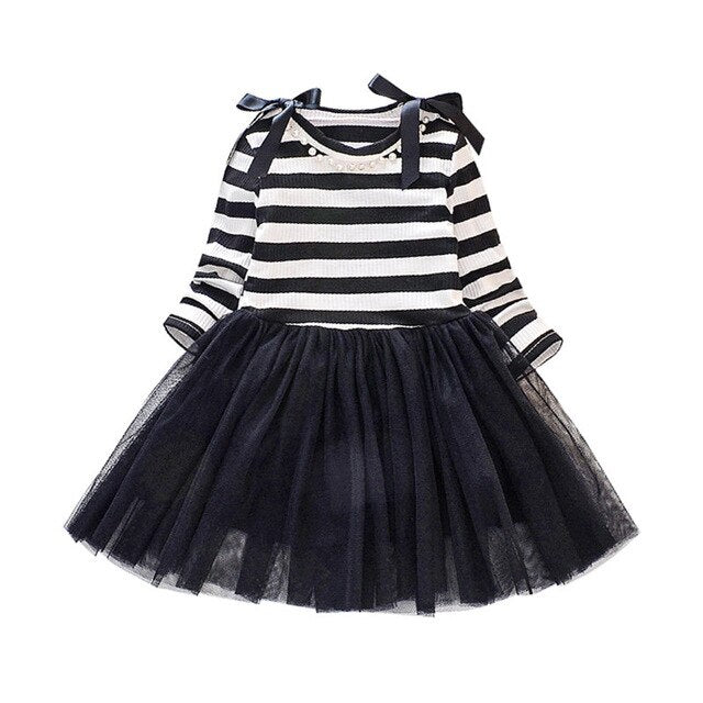 Girl Dress Long Sleeve Princess Striped Tutu Dress Spring Autumn Toddler Girl Cotton Floral Bow Dresses Infant Fashion Clothing