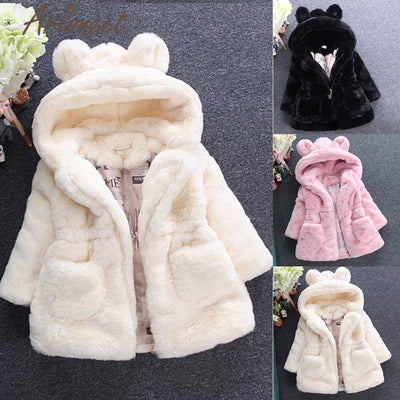 Toddler Girl's Coat Winter Jacket With Hood In Pink Black And White