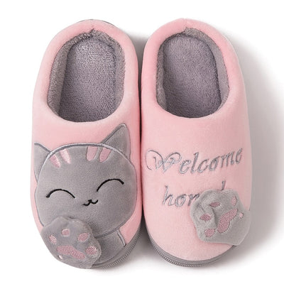 Kids Baby Boys Girls Winter Slippers Cartoon Cat Non-slip Shoes